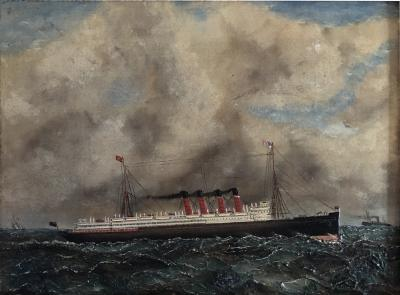 A F Gie se Lusitania Cunard liner Nautical Ship painting 1907
