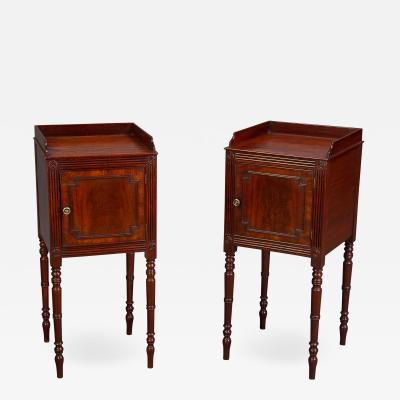 A FINE PAIR OF GEORGE III BEDSIDE CUPBOARDS