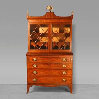 A Federal Secretary with Shaped Cornice and Skirt c 1800