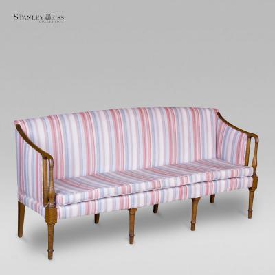 A Federal Tiger Maple Sofa New England c 1810