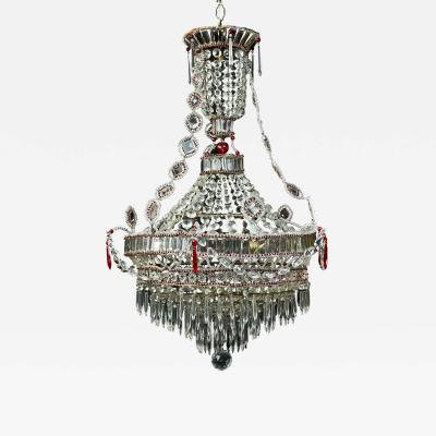 A Fine Antique Italian Louis XVI Style Crystal and Ruby Glass Chandelier