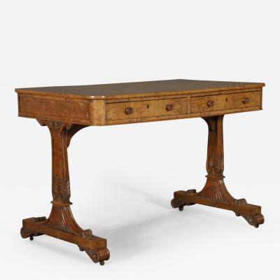 A Fine Burr Elm Regency Writing Table