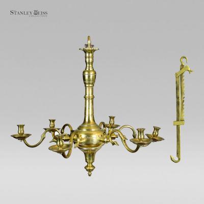 A Fine Classic Six Light English Brass Chandelier with Trammel both c 1750