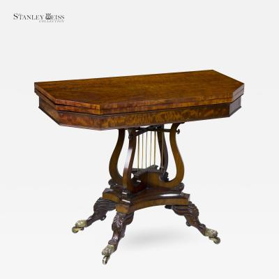 A Fine Classical Mahogany Card Games Table with Crossed Lyres c 1820