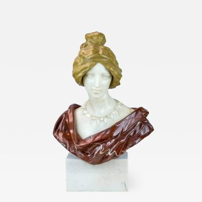 A Fine Colorful French Varicolored Marble Bust of an Elegant Lady