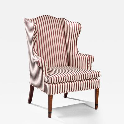 A Fine Federal Bellflower Inlaid Wing Chair
