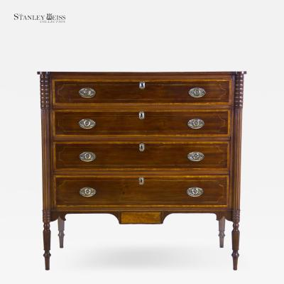 A Fine Inlaid Cherry Federal Sheraton Bureau New Hampshire c 1805 1815