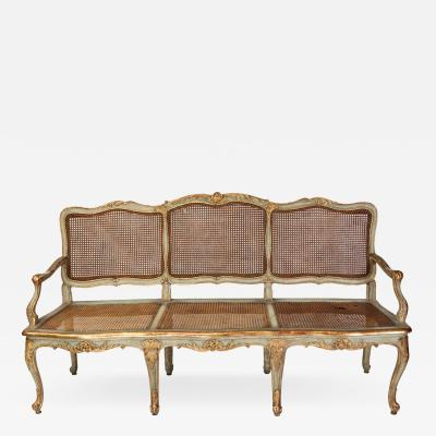 A Fine Italian 18th C Parcel Gilt and Painted Canape