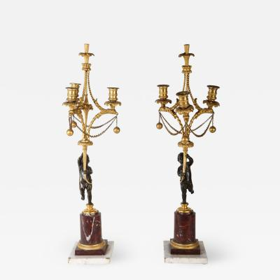 A Fine Pair Of 18century Bronze And Gilt Bronze Candelabra