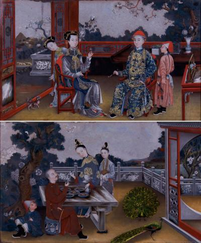 A Fine Pair of China Trade Reverse Paintings on Mirror Chinese ca 1780