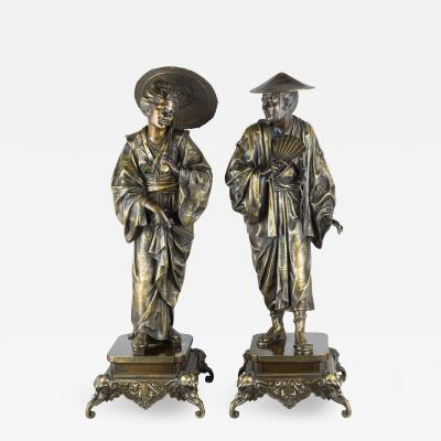 A Fine Pair of French Japonism Bronze Figures of a Geisha and a Samurai