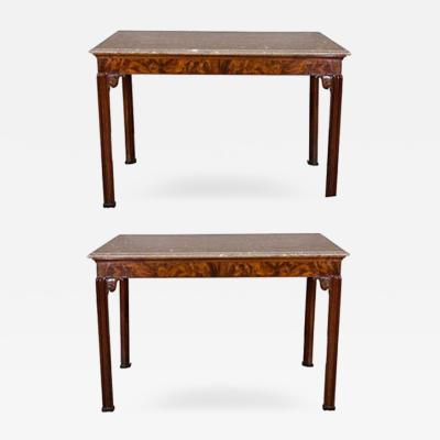 A Fine Pair of George III Mahogany Console Tables with Grey Fossil Marble Tops