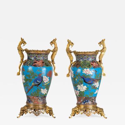 A Fine Pair of Japonisme Cloisonn Enamel Bronze Vases