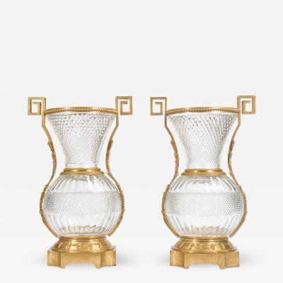 A Fine Pair of Large French Ormolu Mounted Cut Crystal Vases