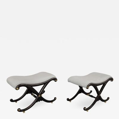 A Fine Pair of Regency X Frame Stools Almost Certainly by Gillows of Lancaster