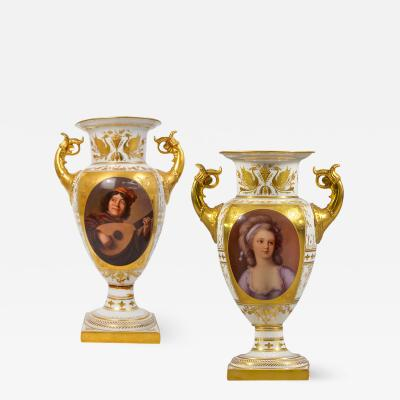 A Fine Pair of Vienna Style Porcelain Finely Painted Vases with Two Handles