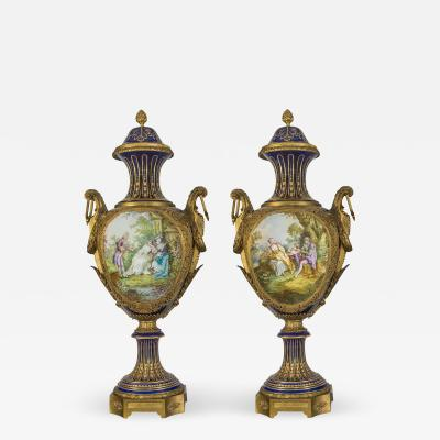 A Fine Quality Pair of S vres style Gilt Bronze Mounted Porcelain Vases