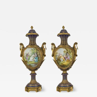 A Fine Quality Pair of S vres style Porcelain Vases