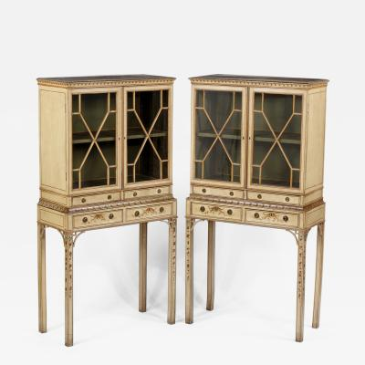 A Fine Rare Pair of George III Painted Cabinets on Stands