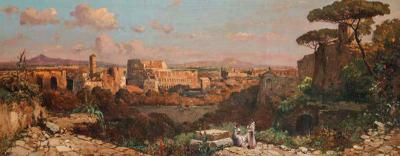 A Fine Roman Landscape Depicting the Colosseum and the Via Sacra