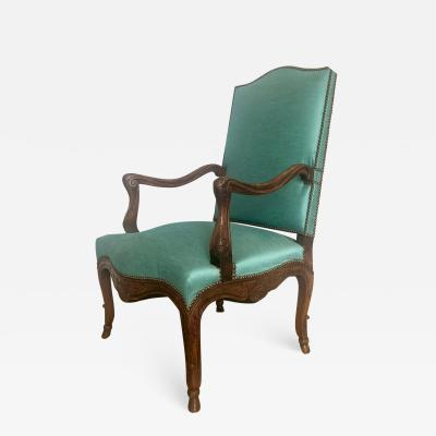 A Finely Carved Beech Wood French Louie XV Style Fauteuil