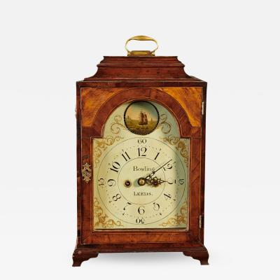 A Finely Carved and Inlaid Mahogany English Bracket Clock Circa 1800