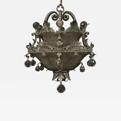 A Finely Cast And Silvered Bronze Faceted Glass Mounted Chandelier