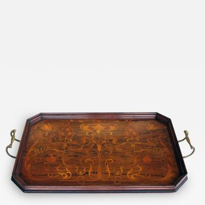 A Finely Inlaid French Art Nouveau Rosewood Rectangular Tray