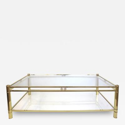 A French 1970s Neo Gothic Inspired Rectangular Brass Coffee Table