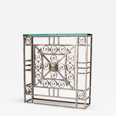 A French Art Deco wrought iron and glass console circa 1930
