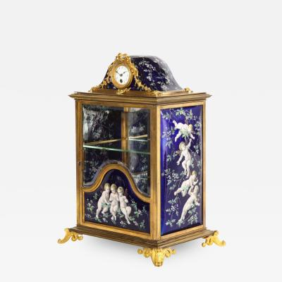 A French Bronze and Limoges Enamel Jewelry Vitrine Cabinet with Clock