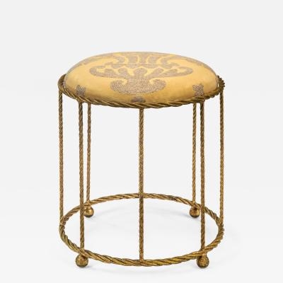 A French Gilt Metal Rope Twist Stool