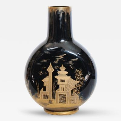 A French Japonism Black Glass and Gilt Decorated Moonflask Circa 1880