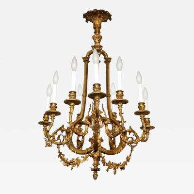 A French Louis XVI Style Ormolu Eight Light Chandelier