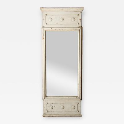 A French Neoclassical painted mirror panel nineteenth century on wooden board