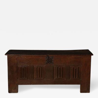 A French Oak Linen Fold Paneled Coffer c 1480