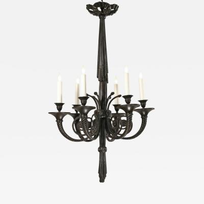A French Patinated Bronze 6 Light Chandelier