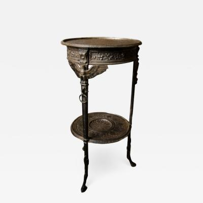 A French antique two tier bronze garden bistro table