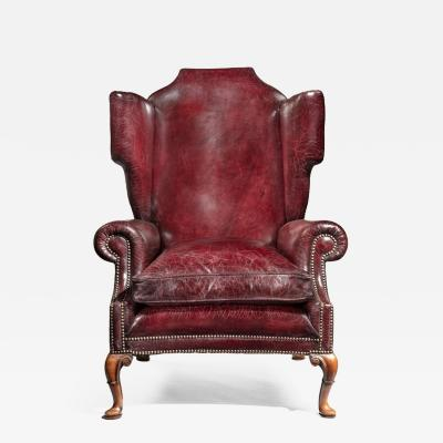 A Generous Leather Wing arm chair