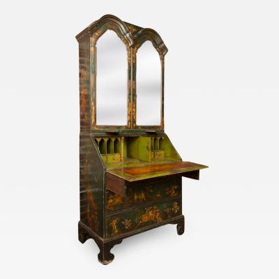 A George I green Japanned and parcel gilt lacquer bureau cabinet