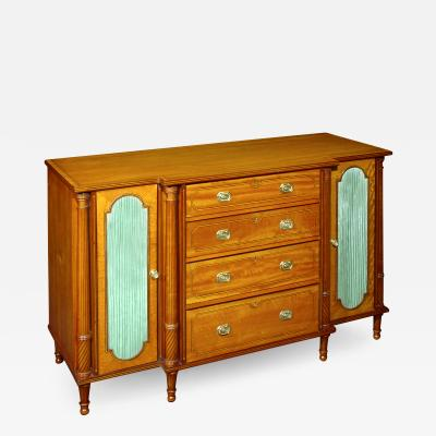 A George III Satinwood Secretaire Side Cabinet