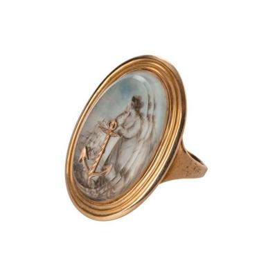 A George III gold ring depicting Hope