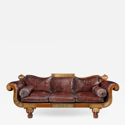 A George IV Brass Inlaid Rosewood Country House Three Seater Sofa