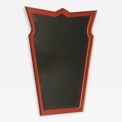 A German Expressionist Red Lacquer And Gilt Mirror