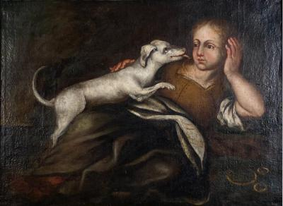 A Girl and Her Dog Spain 18th Century