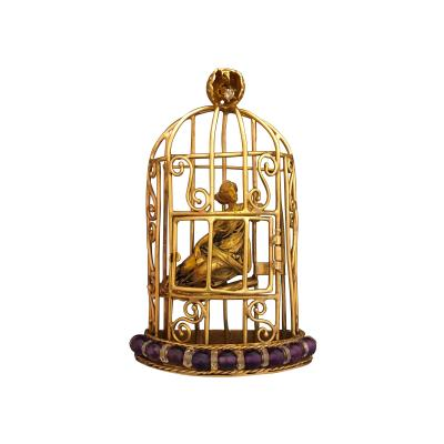 A Gold and Amethyst Birdcage Pendant
