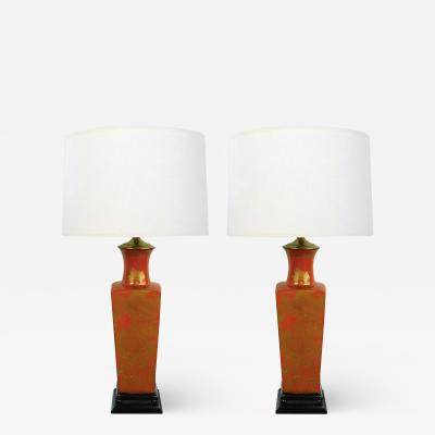 A Good Pair of Chinese 1960s Red Orange Glazed Lamps w Gilt Decoration