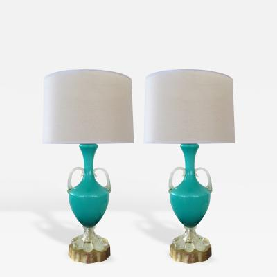 A Good Pair of Italian Murano Teal Cased Glass Urn Form Lamps
