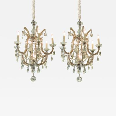 A Good Pair of Maria Theresa Basket Form Glass and Crystal Chandeliers
