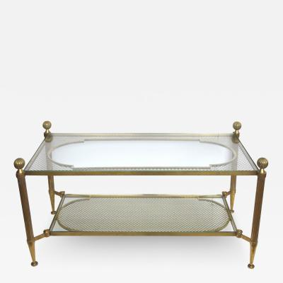 A Good Quality French Brass and Glass Coffee Table with Grill Work Top and Shelf